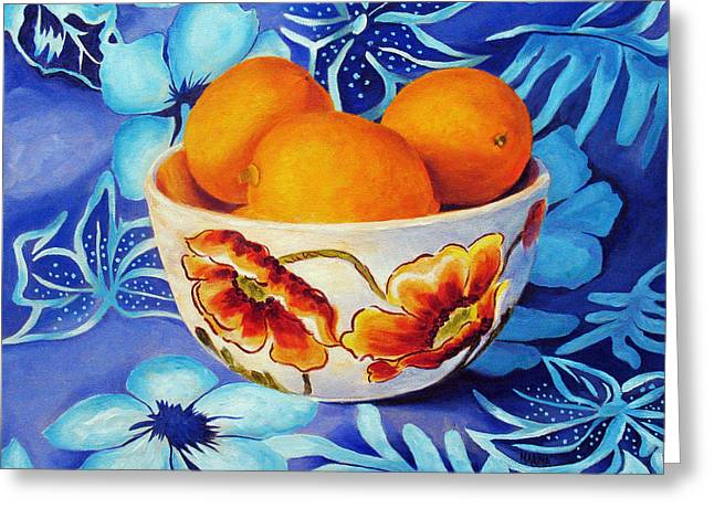 Lemons In A Bowl Greeting Card by Marina Petro