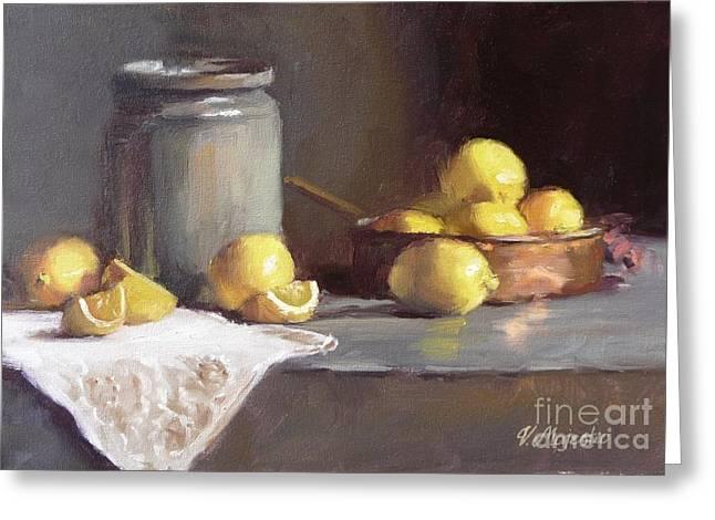 Lemons In Copper Pan  Greeting Card by Viktoria K Majestic