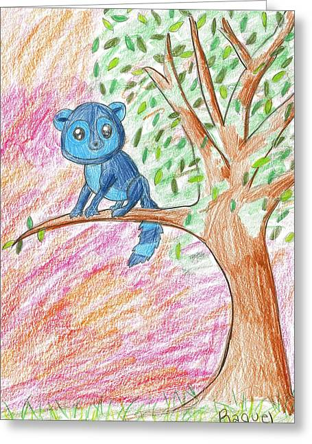 Greeting Card featuring the drawing Lemur At Home by Raquel Chaupiz