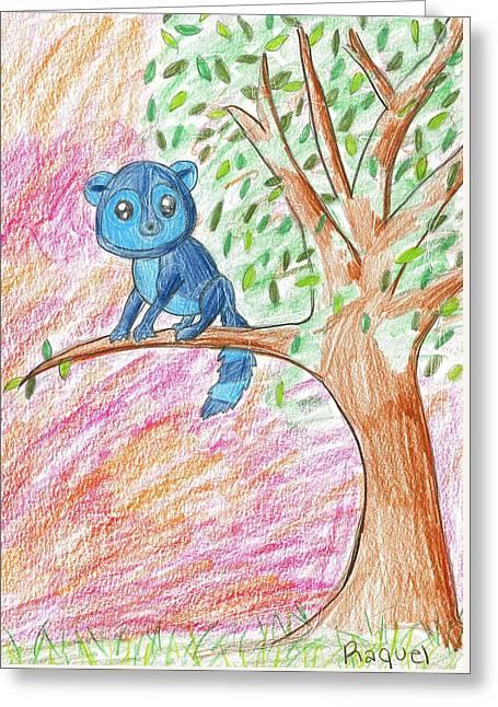 Lemur At Home Greeting Card by Raquel Chaupiz