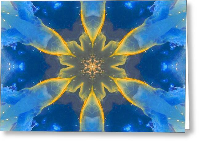 Lemurian Aquatine Calcite Mandala Greeting Card