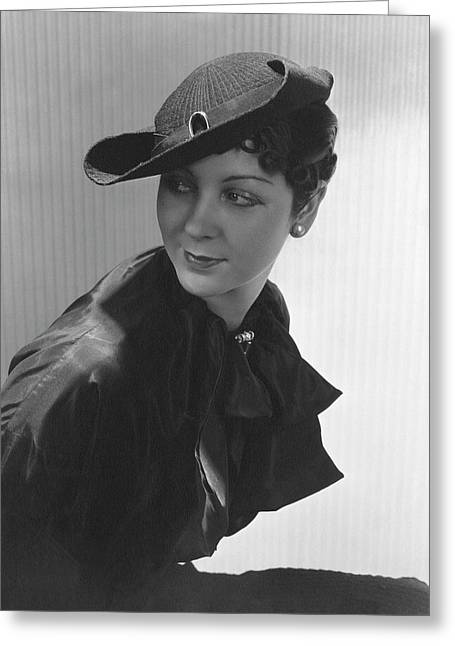 Lenore Pettit Wearing A Straw Hat Greeting Card by Lusha Nelson