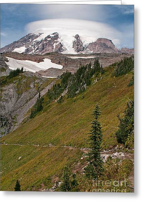Lenticular Cloud Atop Mt Rainier Greeting Card