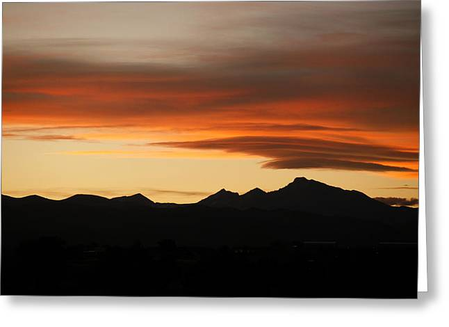 Lenticular Clouds Over Longs Peak 2 Greeting Card by Marilyn Hunt