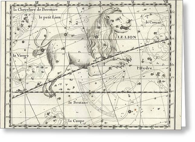 Leo Constellation, Zodiac, 1729 Greeting Card by U.S. Naval Observatory Library