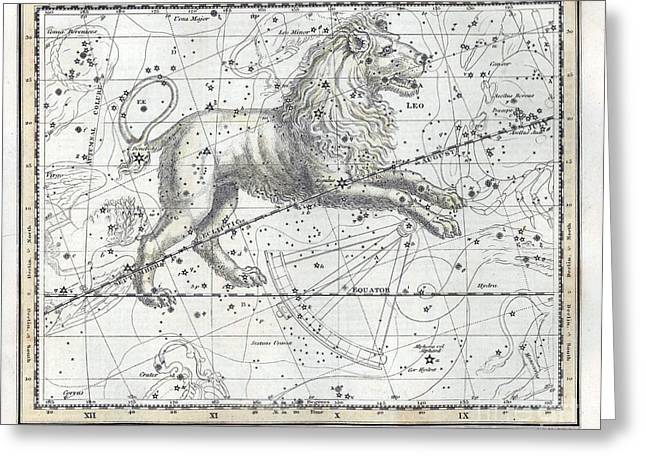 Leo Constellation, Zodiac, 1822 Greeting Card by U.S. Naval Observatory Library