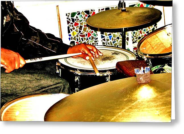 Leo Drumming Greeting Card by Cleaster Cotton