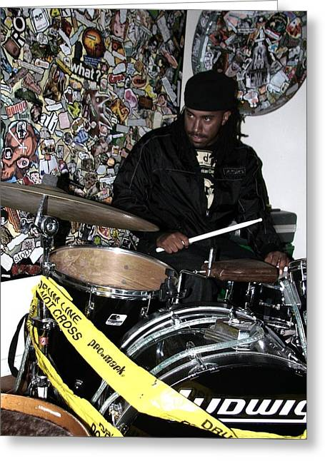 Leo Fierce On Drums Greeting Card by Cleaster Cotton