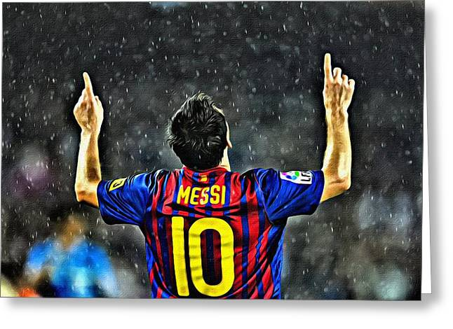 Greeting Card featuring the painting Leo Messi Poster Art by Florian Rodarte