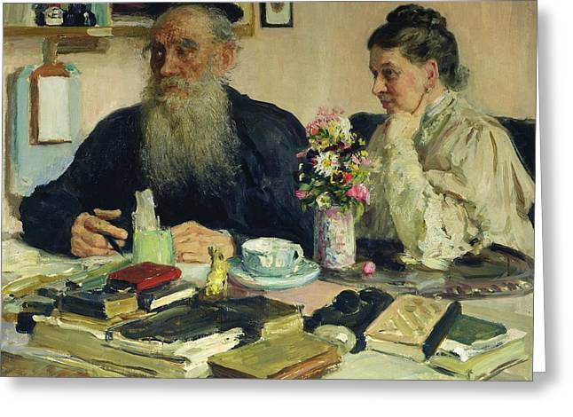 Leo Tolstoy With His Wife In Yasnaya Polyana Greeting Card by Ilya Efimovich Repin