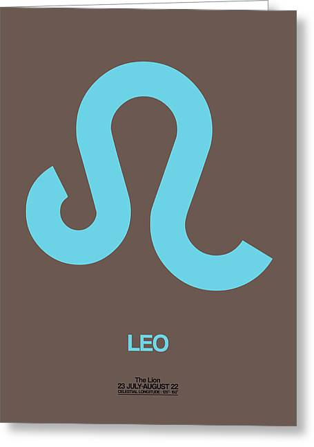 Leo Zodiac Sign Blue Greeting Card