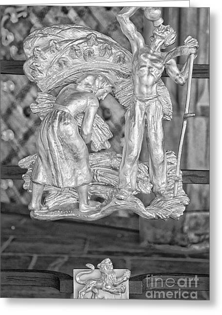 Leo Zodiac Sign - St Vitus Cathedral - Prague - Black And White Greeting Card by Ian Monk