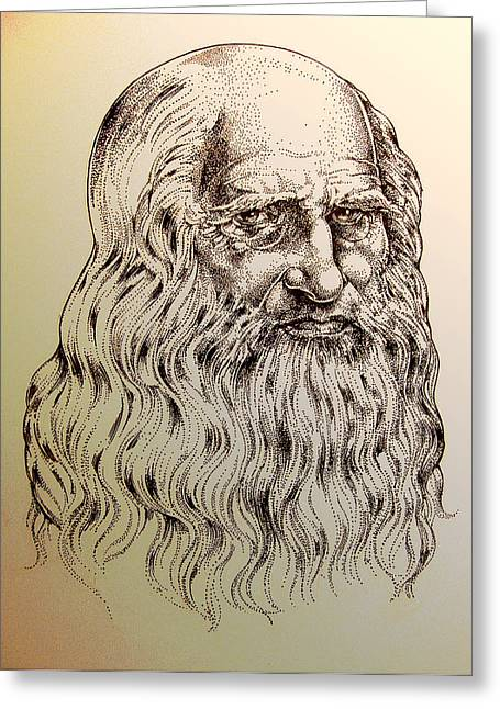 Leonardo Da Vinci Greeting Card by Derrick Higgins