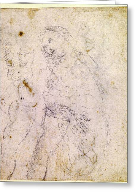 Leonardo Da Vinci, Italian 1452-1519, Study Of A Madonna Greeting Card by Litz Collection
