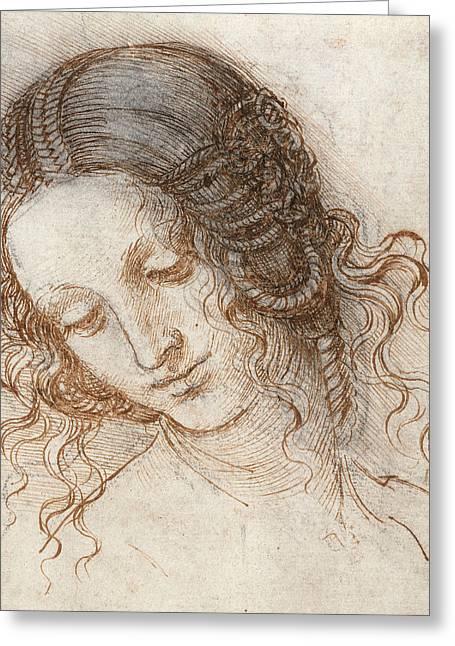 Leonardo Head Of Woman Drawing Greeting Card by