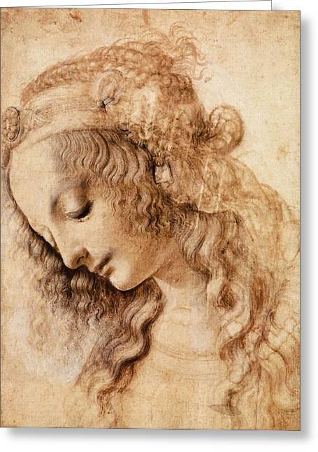 Leonardo Sketch Of A Woman's Head Greeting Card by
