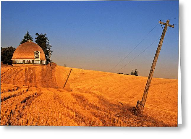 Leonards Round Barn Greeting Card by Latah Trail Foundation