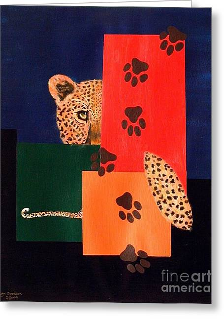 Leopard And Paws Greeting Card