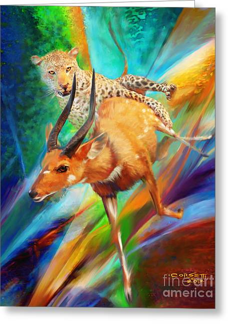 Greeting Card featuring the painting Leopard Attack by Rob Corsetti