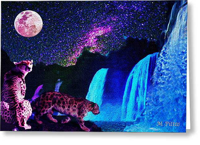 Leopard/chetah  In The Moonlight Greeting Card