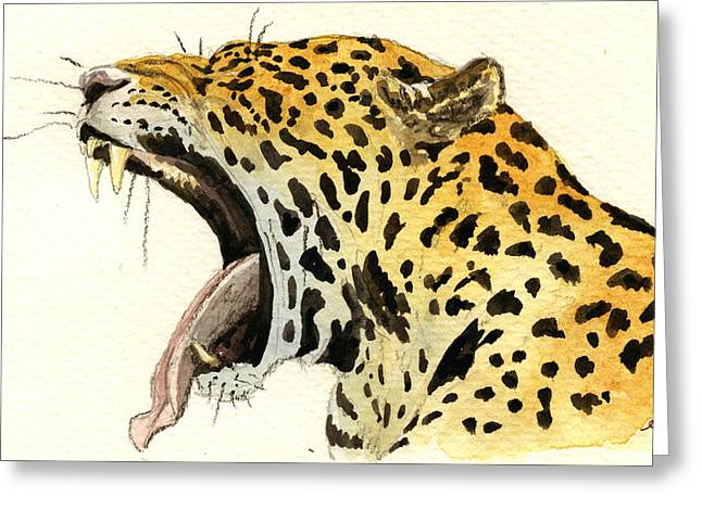 Leopard Head Greeting Card by Juan  Bosco