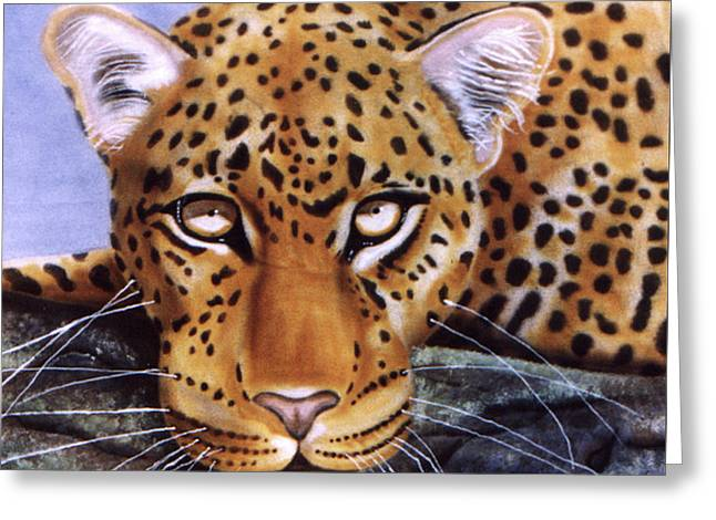 Greeting Card featuring the painting Leopard In A Tree by Thomas J Herring