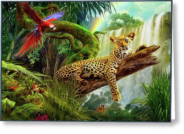 Leopard In Tree Greeting Card by Jan Patrik Krasny