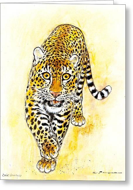 Leopard Greeting Card by Kurt Tessmann