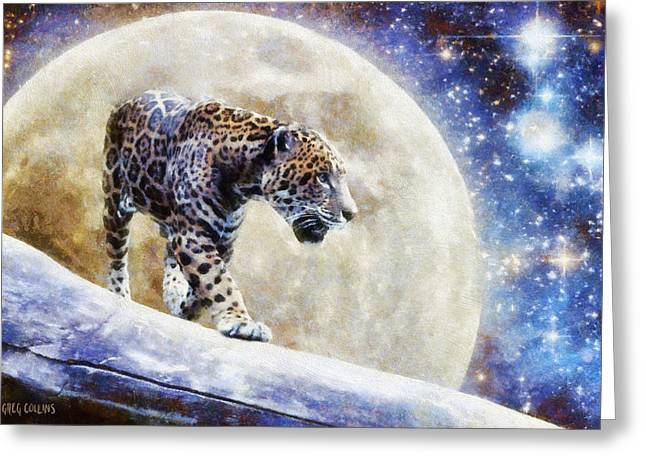 Greeting Card featuring the painting Leopard Moon by Greg Collins