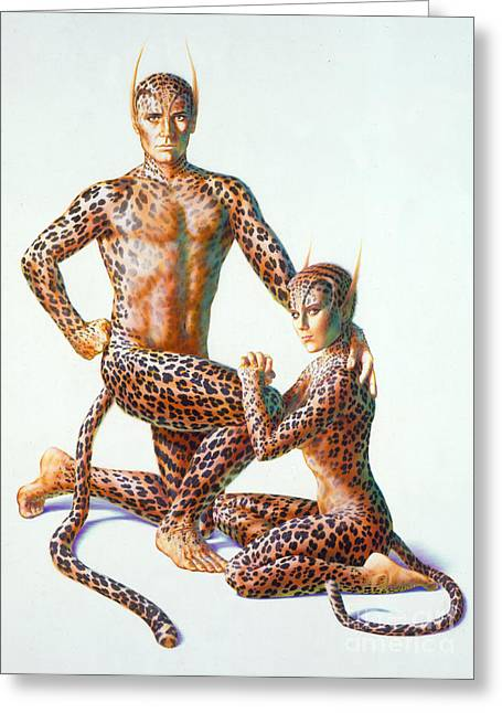 Leopard People Greeting Card by Andrew Farley
