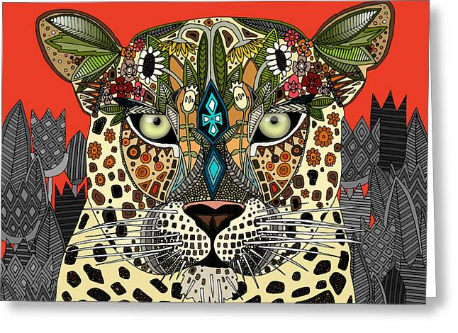 Leopard Queen Coral Greeting Card by Sharon Turner