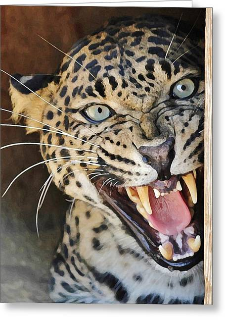 Leopard Snarling Greeting Card