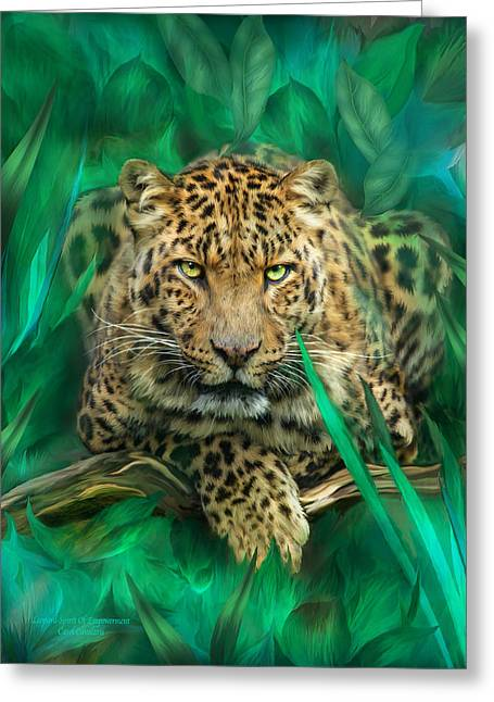 Leopard - Spirit Of Empowerment Greeting Card by Carol Cavalaris