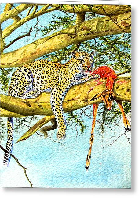 Leopard With A Kill Greeting Card