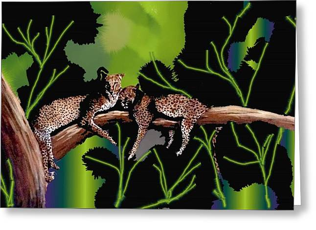 Leopards Greeting Card by Claire Masters