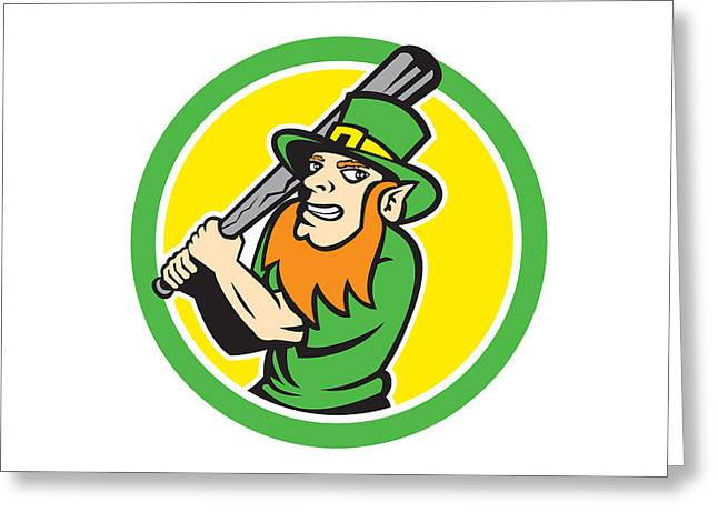 Leprechaun Baseball Hitter Batting Circle Retro Greeting Card