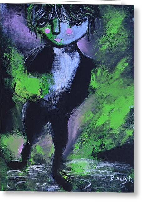 Leprechaun Greeting Card by Donna Blackhall