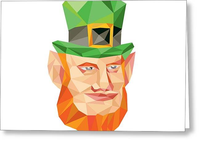 Leprechaun Head Low Polygon Greeting Card