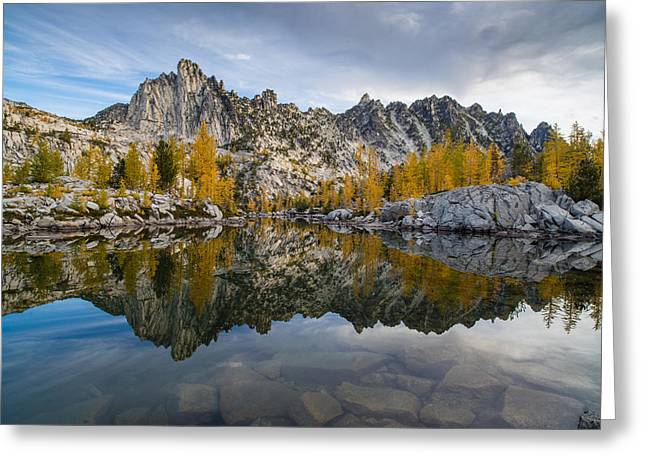 Leprechaun Lake Larches And Prusik Peak Greeting Card by Mike Reid