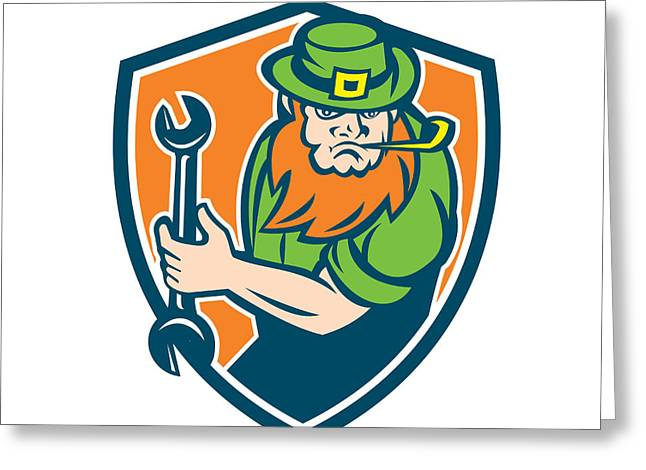 Leprechaun Mechanic Spanner Shield Retro Greeting Card