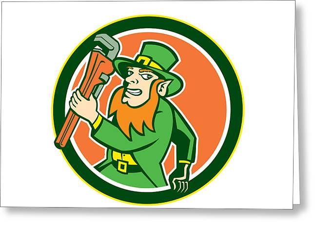 Leprechaun Plumber Wrench Running Circle Greeting Card