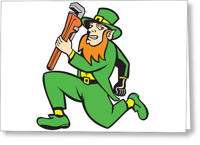 Leprechaun Plumber Wrench Running Retro Greeting Card