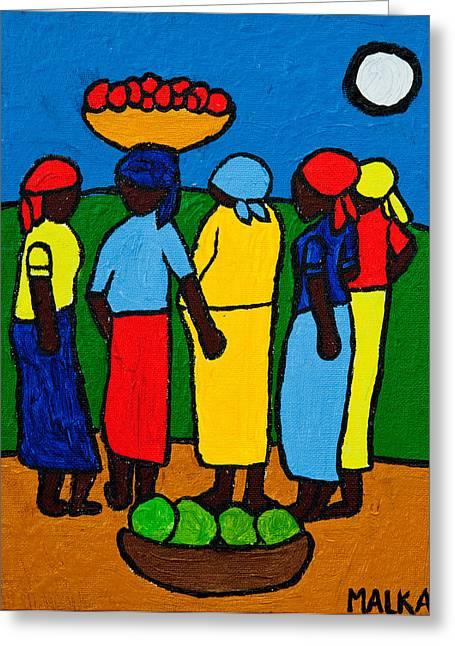 Mango Greeting Cards - Les Femmes I Greeting Card by Marlene MALKA Harris