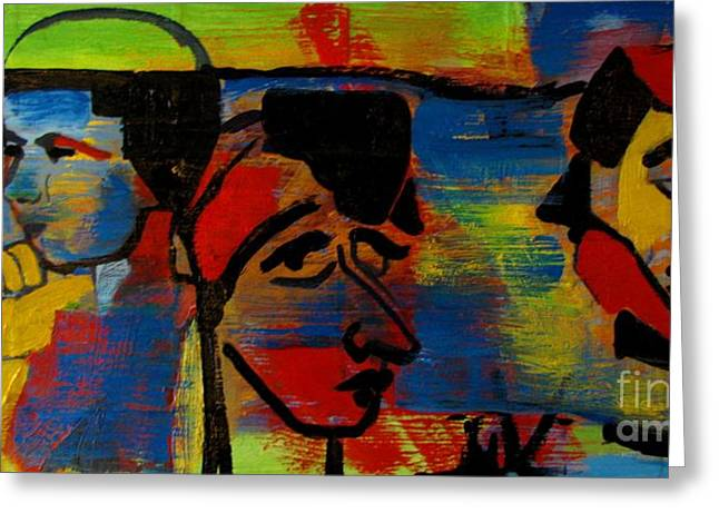 Les Gens A La Lac Two Greeting Card by Grace Liberator