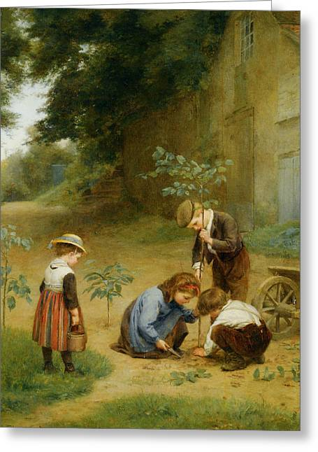 Les Jeunes Jardiniers Greeting Card by Edouard Frere