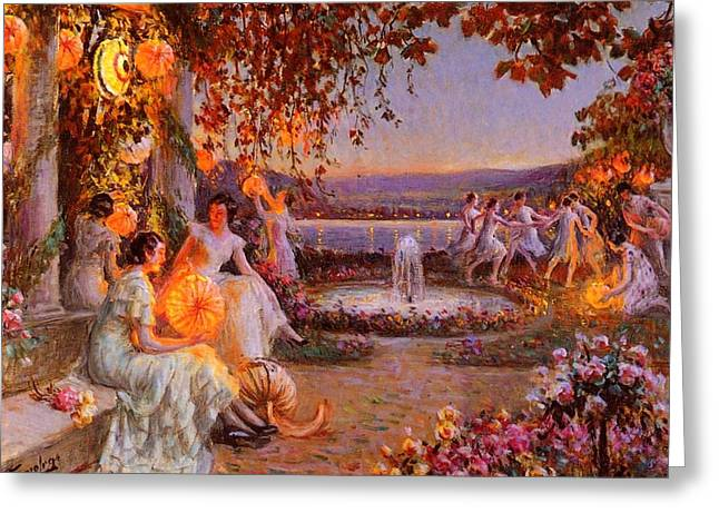 Greeting Card featuring the painting Les Lampions   by Delphin Enjolras
