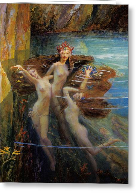 Les Nereides Greeting Card by Gaston Bussiere