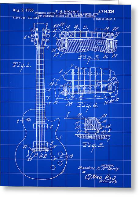 Les Paul Guitar Patent 1953 - Blue Greeting Card by Stephen Younts