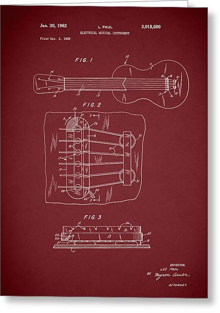 Les Paul Guitar Patent 1962 Greeting Card by Mark Rogan