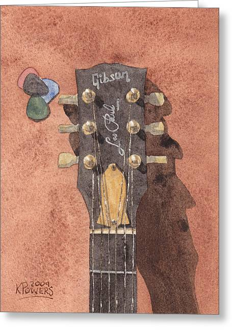 Les Paul Greeting Card by Ken Powers